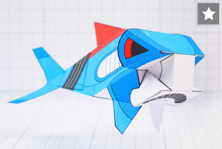 THU- Sea Search Shark Robot Paper Toy Craft Model - Image Thumbnail sTAR