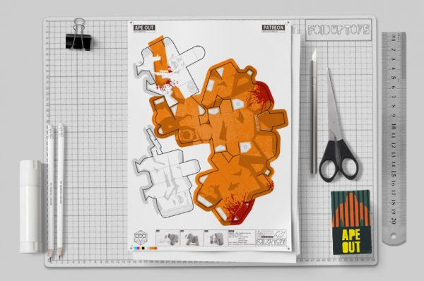 MU - Ape Out Game Fan Art Paper Toy Image - 2019 Mockup