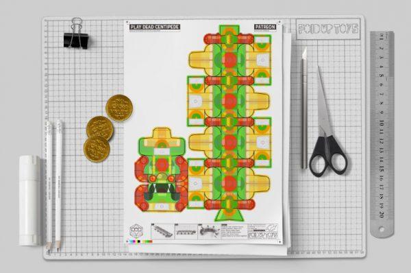 MU - Centipede Game Paper Toy Craft Monster Bug Image - Mockup 2