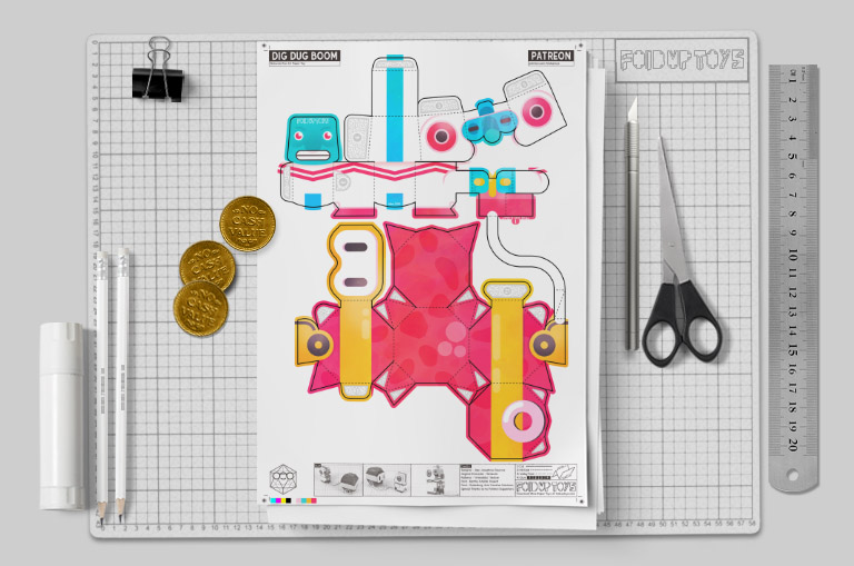 MU - Dig Dug Boom Nintendo Paper Toy Craft Fan Art image - Mockup 2
