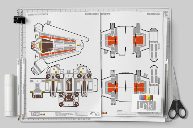 MU - Enkl Star Wars X-Wing paper toy - Mockup