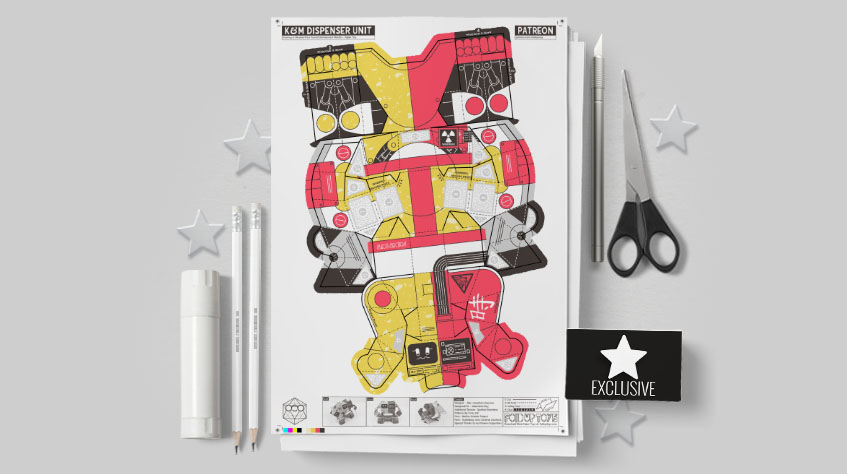MU- Ketchup and Mustard Robot Paper Toy Image - Mockup