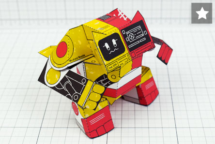 MU- Ketchup and Mustard Robot Paper Toy Image - Thumbnail Patreon