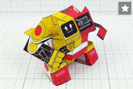 MU- Ketchup and Mustard Robot Paper Toy Image - Thumbnail Patreon