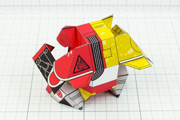 PTI- Ketchup and Mustard Robot Paper Toy Image - Back