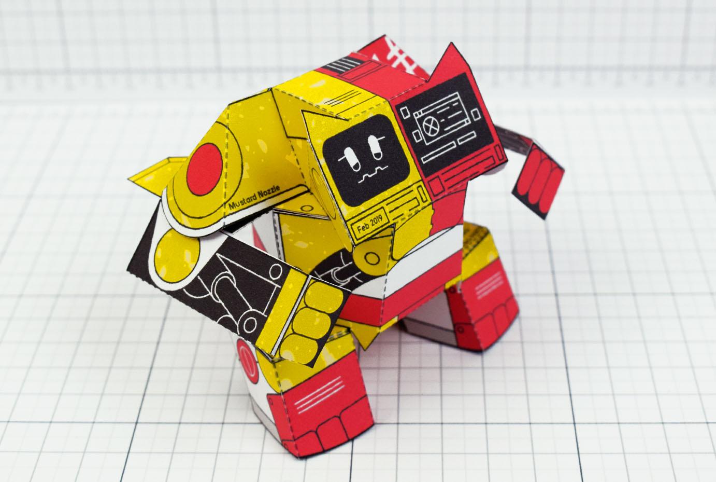 PTI- Ketchup and Mustard Robot Paper Toy Image - Main