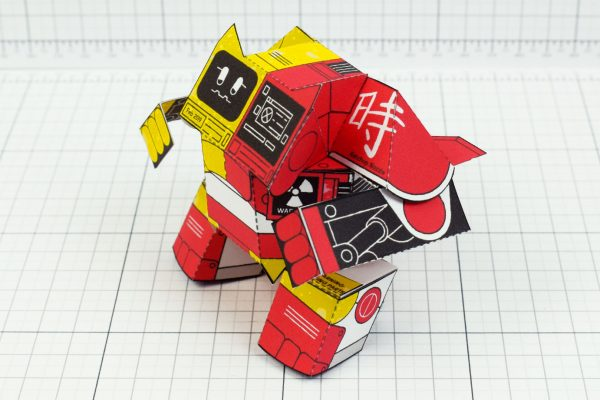 PTI- Ketchup and Mustard Robot Paper Toy Image - Red