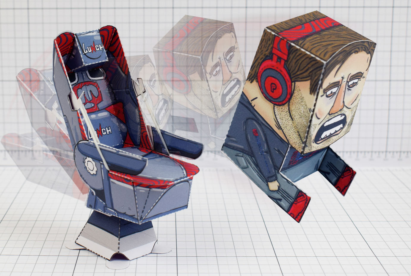 PTI - Pewdiepie Chair Launcher Paper Toy Craft Texture - Image Inaction2