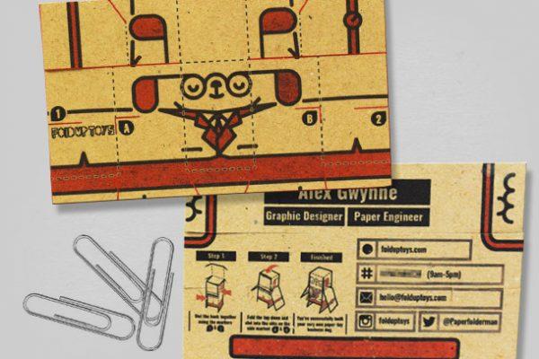 MU - Business Card Paper Toy Craft Dog Google - Mockup