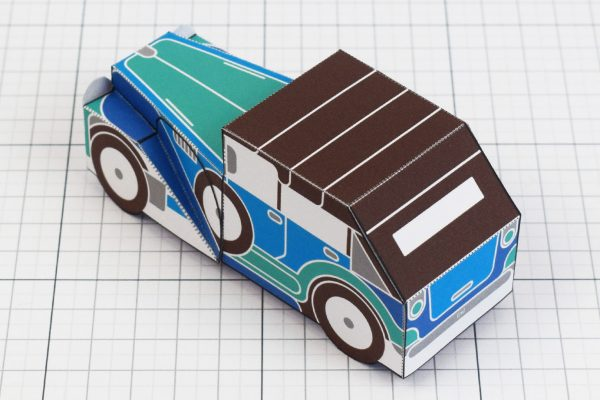 PTI - Enkl Twinkl Vintage Car paper toy craft model - Blue Back