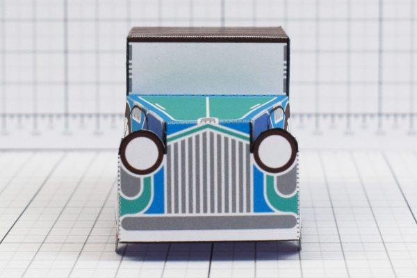 PTI - Enkl Twinkl Vintage Car paper toy craft model - Blue Front
