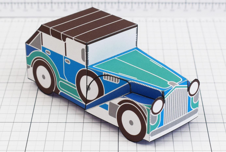 PTI - Enkl Twinkl Vintage Car paper toy craft model - Blue Main