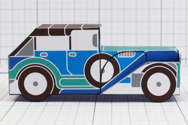 PTI - Enkl Twinkl Vintage Car paper toy craft model - Blue Side