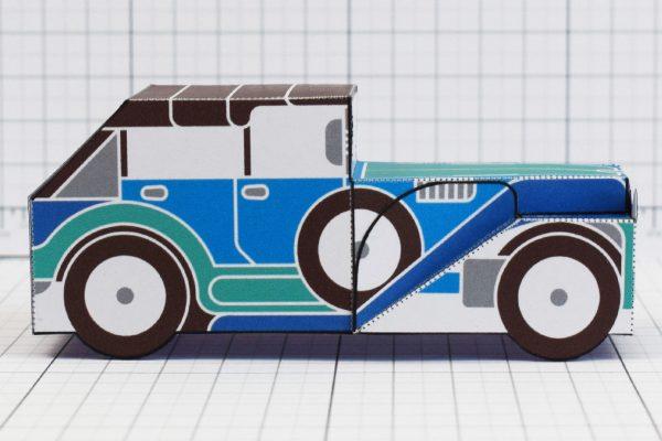 PTI - Enkl Twinkl Vintage Car paper toy craft model - Blue Side