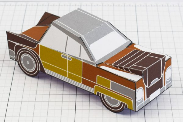 PTI - Enkl Twinkl Vintage Car paper toy craft model - Brown Back