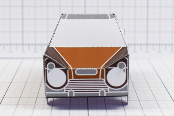 PTI - Enkl Twinkl Vintage Car paper toy craft model - Brown Front