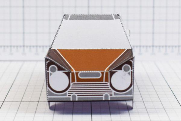 PTI - Enkl Twinkl Vintage Car paper toy craft model - Brown Front