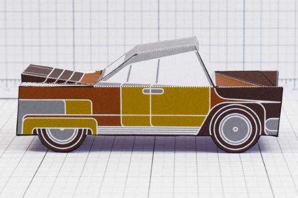 PTI - Enkl Twinkl Vintage Car paper toy craft model - Brown Side