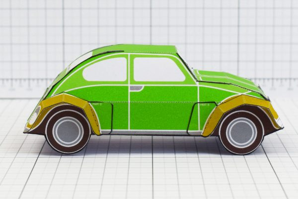PTI - Enkl Twinkl Vintage Car paper toy craft model - Green Side