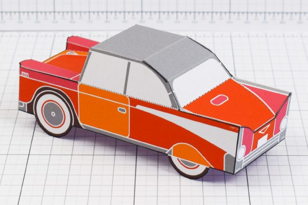 PTI - Enkl Twinkl Vintage Car paper toy craft model - Red Back