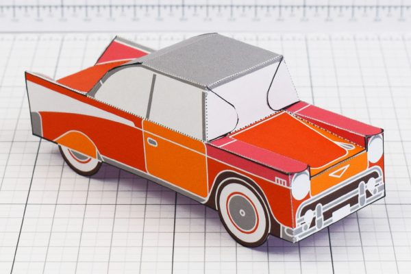 PTI - Enkl Twinkl Vintage Car paper toy craft model - Red Main