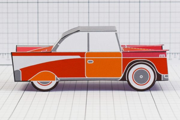 PTI - Enkl Twinkl Vintage Car paper toy craft model - Red Side