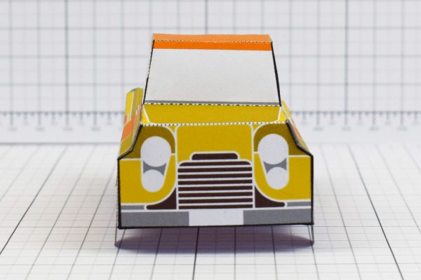 PTI - Enkl Twinkl Vintage Car paper toy craft model - Yellow Front