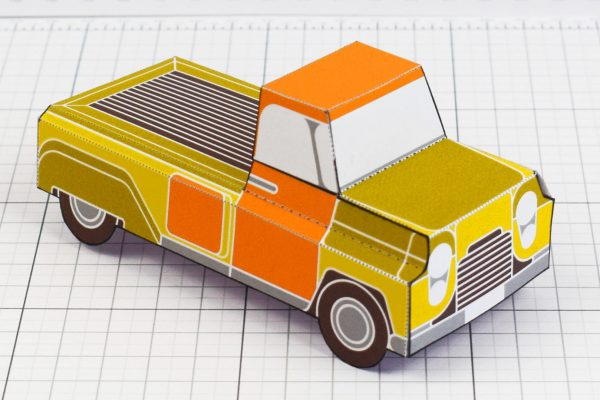 PTI - Enkl Twinkl Vintage Car paper toy craft model - Yellow Main