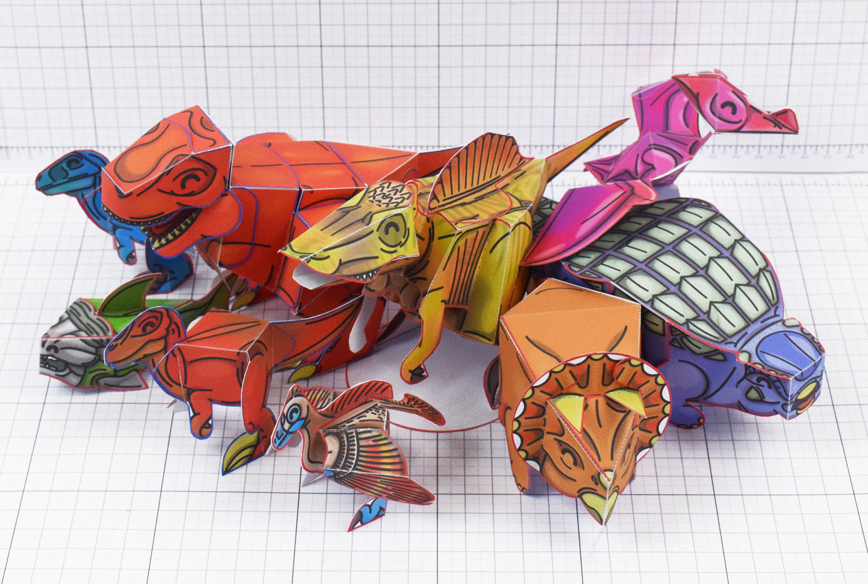PTI Twinkl Dinosaur T-rex tyrannosaurus rex paper toy craft model Image - Group