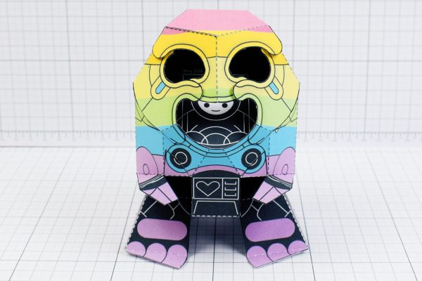 PTI-Gaysper Pride paper toy rainbow ghost robot photo image - 2