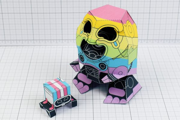PTI-Gaysper Pride paper toy rainbow ghost robot photo image - 4
