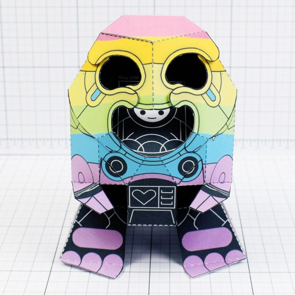 PTI-Gaysper Pride paper toy rainbow ghost robot photo image - Front