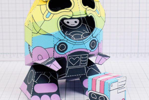 PTI-Gaysper Pride paper toy rainbow ghost robot photo image - Happy