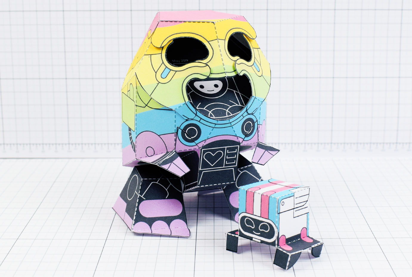 PTI-Gaysper Pride paper toy rainbow ghost robot photo image - Main 1