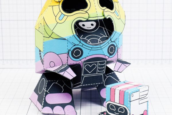 PTI-Gaysper Pride paper toy rainbow ghost robot photo image - Main