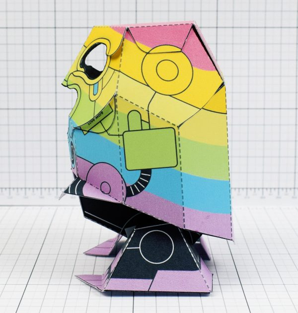 PTI-Gaysper Pride paper toy rainbow ghost robot photo image - Side