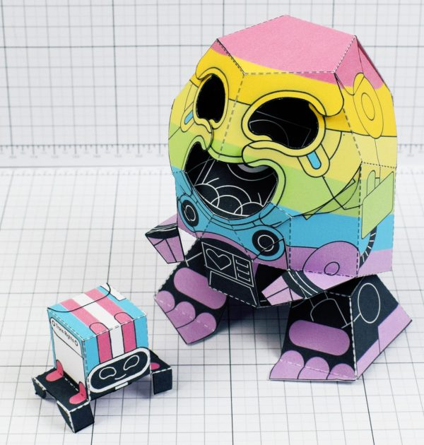 PTI-Gaysper Pride paper toy rainbow ghost robot photo image - Top