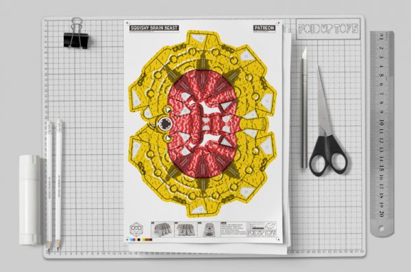 MU - Squishy Brain Beast Monster Alien Paper Toy Image - Mockup