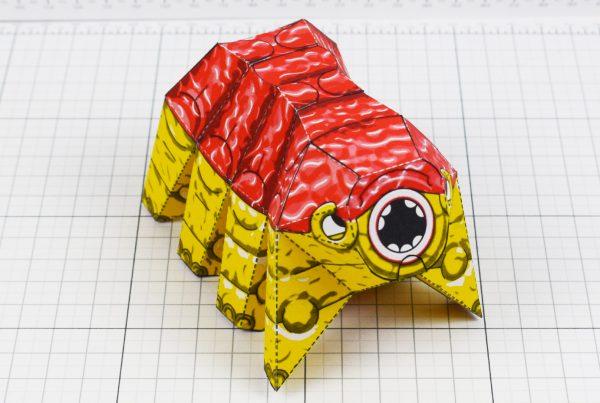 PTI - Squishy Brain Beast Monster Alien Paper Toy Image - Top