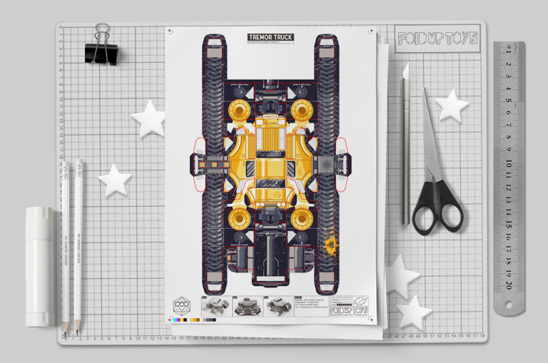 MU - Tremor Truck Paper Toy Image - Mockup