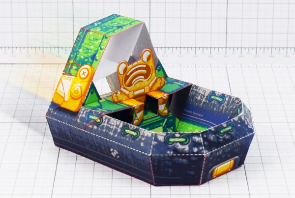 PTI - Fold Up Toys - Swamp Sweeper - Frog Hover Craft Paper Toy Image - Main