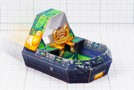 THU - Fold Up Toys - Swamp Sweeper - Frog Hover Craft Paper Toy Image - Thumbnail