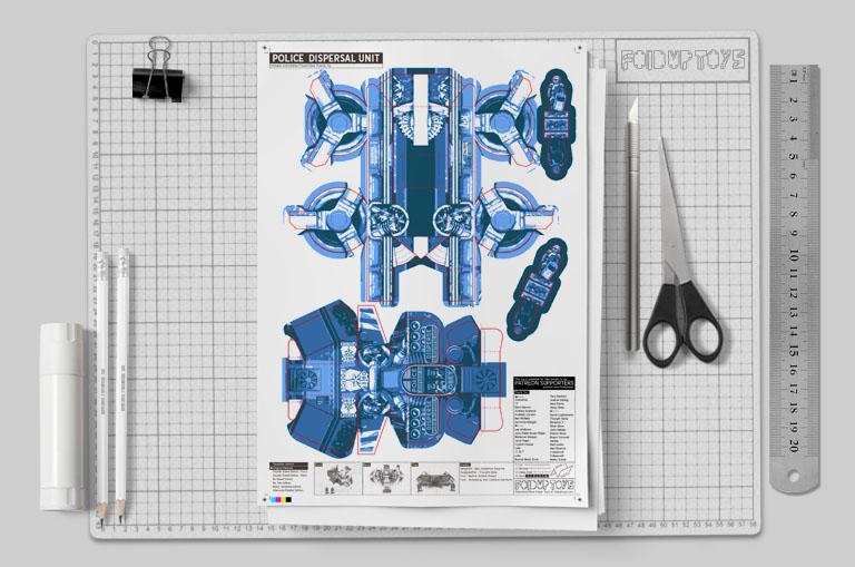 MU - Paper Toy Future Police - Fold Up Toys - Mockup