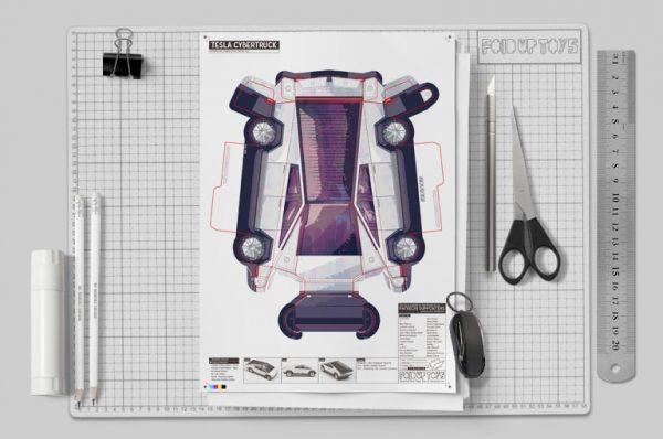 MU- Tesla Cybertruck - Fold Up Toy - Paper Toy Image Mockup