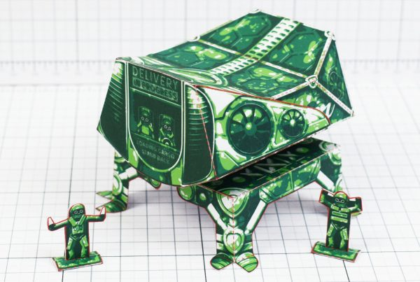 PTI- Fold Up Toy Delivery Dudes Robot Paper Toy - Edge