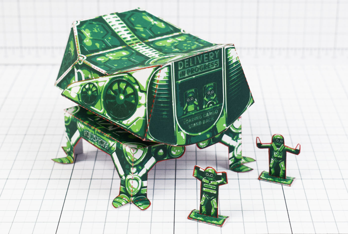 PTI- Fold Up Toy Delivery Dudes Robot Paper Toy - Main