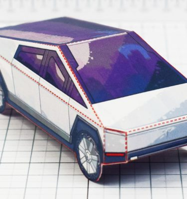 PTI- Tesla Cybertruck - Fold Up Toy - Paper Toy Image Front