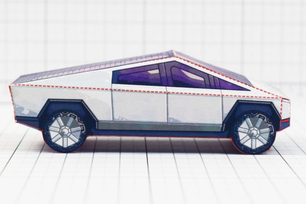 PTI- Tesla Cybertruck - Fold Up Toy - Paper Toy Image Side