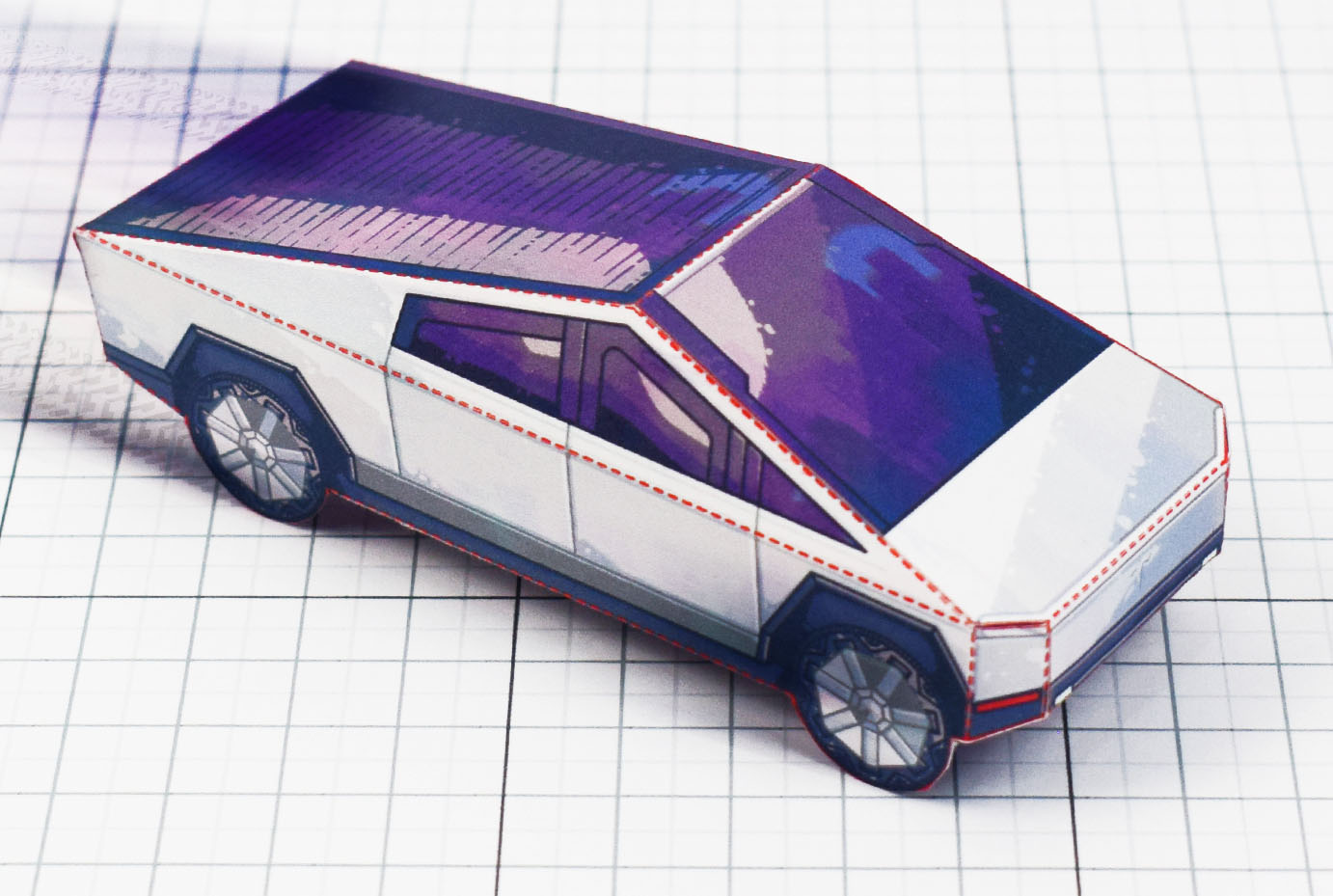 PTI- Tesla Cybertruck - Fold Up Toy - Paper Toy Image main