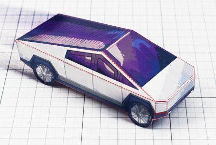 THU- Tesla Cybertruck - Fold Up Toy - Paper Toy Image Thumbnail